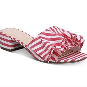 Bar III Red and White Ruffle Peep-Toe Mules